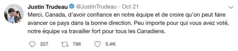 Le premier ministre canadien remercie ses électeurs sur twitter. Crédit photo: Twitter.