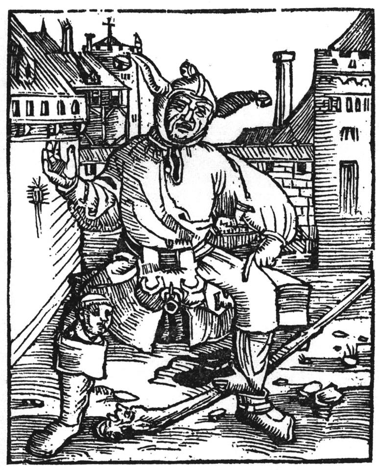 """Gravure du pamphlet """"Le Grand fou Luthérien"""" de Thomas Murnier représentant un danseur fou de Strasbourg (c) Anonyme"""