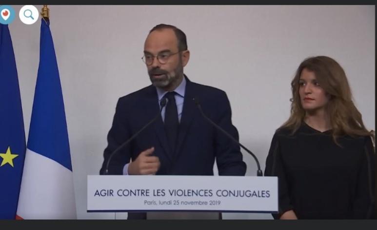 Le gouvernement présente les conclusions du Grenelle des violences conjugales lancé le 03/9/2019. Facebook. Capture d'écran.