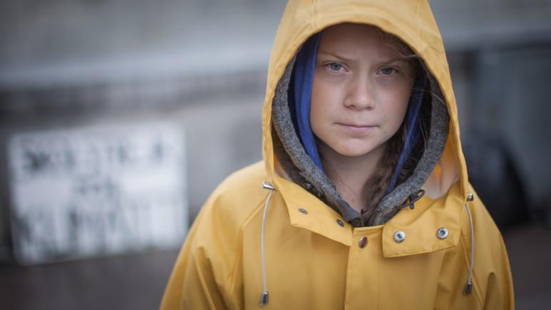Greta Thunberg devant le parlement suédois en août 2018 (c) Wikimedia commons