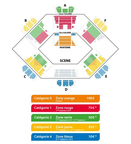 Agencement et tarif des places pour le concert du 05/03/20 © Fondation Toulouse Santé