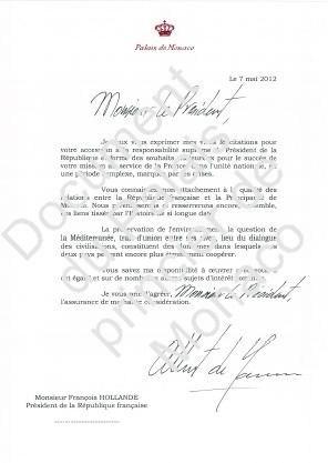 La lettre de SAS le Prince Albert II (c) Palais princier