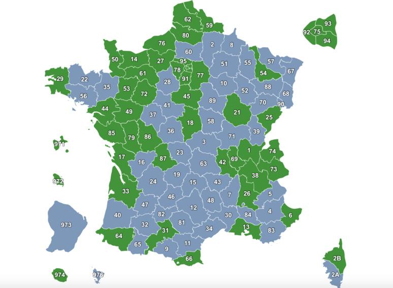 Carte représentant la couverture en France et dans les DOM-TOM de l'application Sauv Life. Crédit photo: Capture d'écran sur le site de Sauv Life.