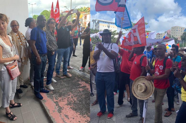 Des représentants des syndicats FO et CGTM rendent hommages aux salariés de Frances Antilles. (c) Nouria Anseur.
