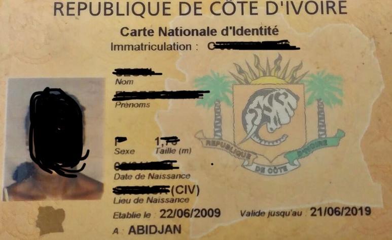 Un exemple de carte d'identité arrivée à expiration(c)Okaigne Henri