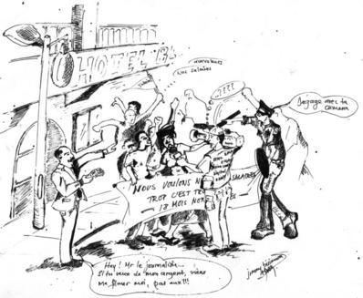 Caricature d'une illustration de la condition dans laquelle un journaliste congolais travaille à nos jours (c) Blaise Sanyila - Jimmy Bisimwa