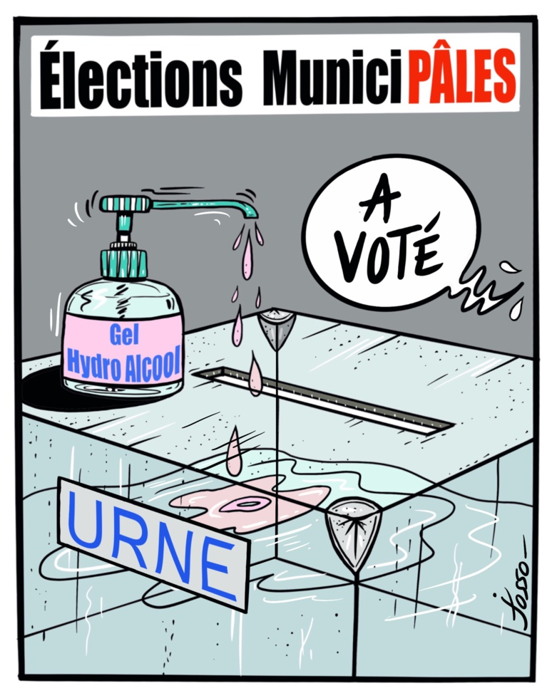 Malgré la progression du Covid-19, dimanche 15 mars, le premier tour des élections municipales a été maintenu. Néanmoins 56% des Français n'ont pas jugé nécessaire d'aller voter (c) Josso