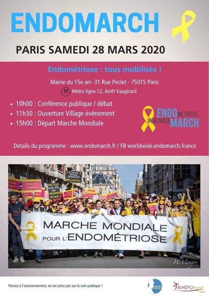 """Chaque année pour la journée mondiale contre l'endométrioe l'association Endomind et Mon Endométriose Ma souffrance organise une """"EndoMarch"""" (c) EndoMarch"""