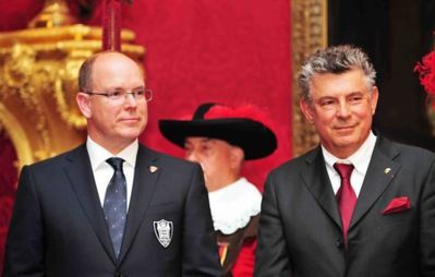 H.S.H. Prince Albert II of Monaco and WOA President Joel Bouzou at the 2012 Olympians Gala. Photo (c) DR