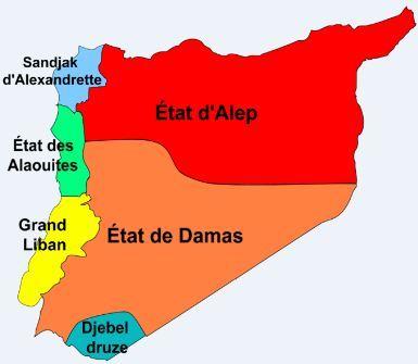 Carte des zones autonomes sous le mandat français de Syrie avant 1937 (et plus particulièrement 1923): Liban, Alep, Damas, Alexandrette (Hatay), Alaouites. Illustration (c) Pandries