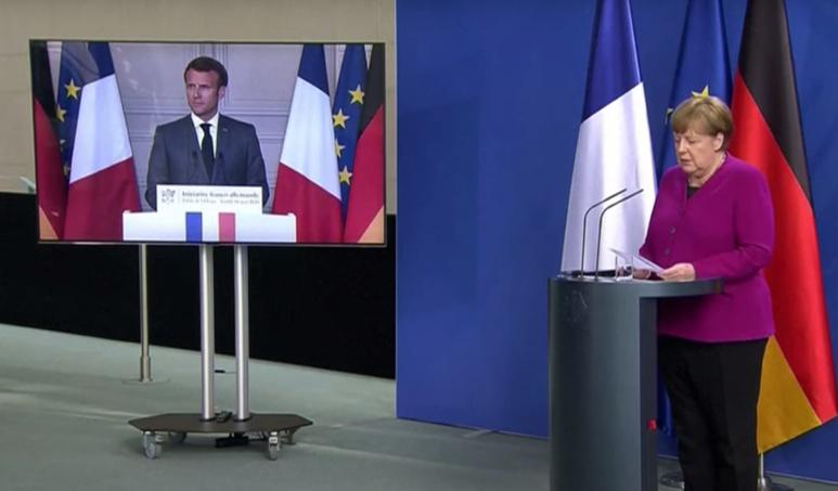 Angela Merkel et Emmanuel Macron ont proposé un plan de relance de 500 milliards d'euros - (c) capture d'écran YouTube / l'Info du Vrai
