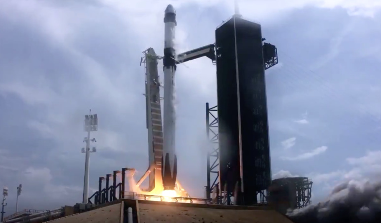 Space X a réussi son pari en envoyé deux astronautes vers l'ISS © capture d'écran YouTube / Space X