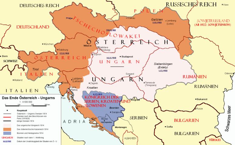 Après la Première Guerre mondiale, l'Europe centrale est redessinnée (C) DR