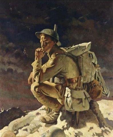 The Thinker on the Butte de Warlencourt, 1918 de William Orpen