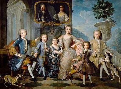 La famille d'Honoré III de Monaco, alors duc de Valentinois. Huile sur toile, vers 1730. Image du domaine public.