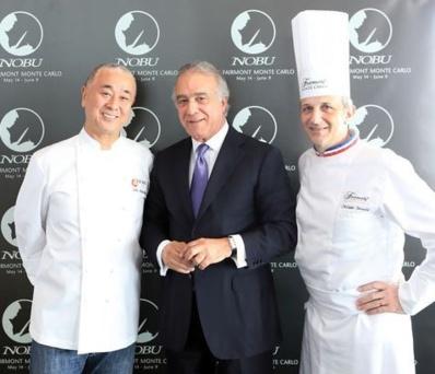Le chef japonais Nobu avec Xavier Rugeroni, directeur du Fairmont et le chef Philippe Joannès. Photo (c) Ed Wright