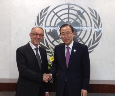 José Badia, Conseiller de Gouvernement pour les Relations Extérieures et  Ban Ki-moon, Secrétaire général de l'ONU. Photo courtoisie © DR