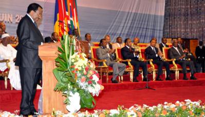 Le président Paul Biya prononçant le discours de clôture du Sommet de Yaoundé. Photo (c) Cellule de communication de la présidence de la République du Cameroun
