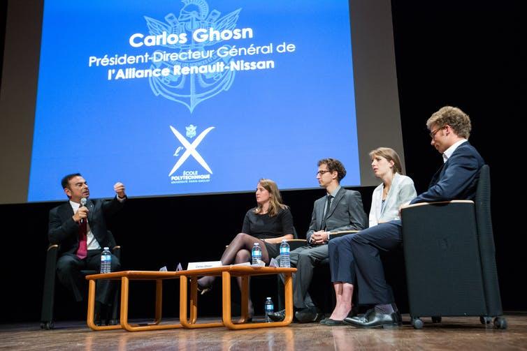 Conférence de Carlos Ghosn en tant que président-directeur général de l'alliance Renault-Nissan à l'école Polytechnique. Wikimedia, CC BY-SA