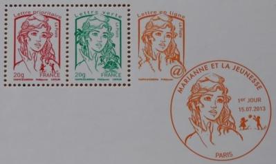 Les nouveaux timbres Marianne, pour les lettres prioritaires, les lettres vertes et les lettres en ligne, ont été choisis après consultation d'un millier de lycéens. Photo (c) M.D.