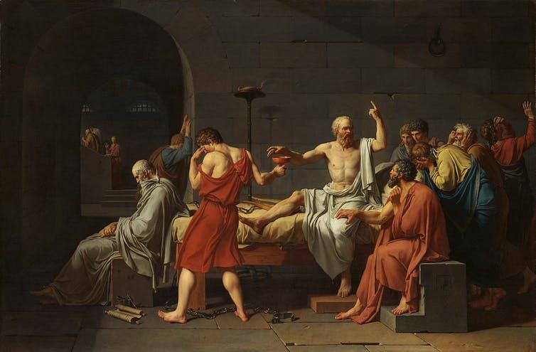 La mort de Socrate. Jacques-Louis David, via Wikimedia
