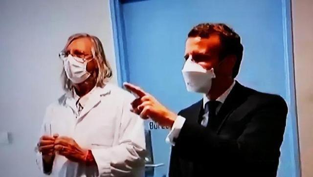 Le président Macron a rendu visite à l'Institut de recherche du Dr Raoult en avril 2020.  (Capture d'écran d'un reportage télévisé français)