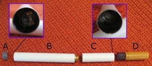A: indicateur lumineux de fonctionnement; B: batterie et circuits intégrés; C: atomiseur et élément de chauffe; D: cartouche et embout. Photo (c) Horsten