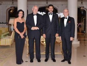 Mme José Badia; S.E. M. Michel Roger, Ministre d'Etat; M. Moustapha El-Solh, Président de l'ACHM et M. José Badia, Conseiller de Gouvernement pour les Relations Extérieures. Photo (c) CDP