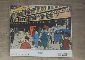 Symbole de Saint-Nazaire, les chantiers navals et le port de la ville apparaissent dans de nombreux films, livres et bandes dessinées. Près du port trônent des images de Tintin à Saint-Nazaire. Photo (c) Marie Dousset
