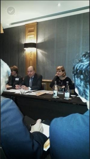 Jean-Michel Baylet et Anne Lauvergeon à l'hôtel Scribe à Paris. Photo Nathalie Langelier