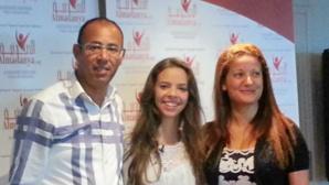Amel Meziane entourée de Hatem Chaouachi, Chef de Projet Green Tunisia et Leïla Chiha, représentante du Consulat Honoraire de Tunisie à Monaco. Photo: Eva Esztergar