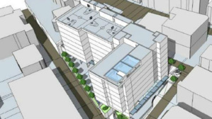 Insertion volumétrique du projet entre la rue Bellevue et l'avenue de Roqueville.