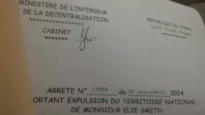 Extrait de l'arrêté d'expulsion du journaliste Elie Smith vers le Cameroun.