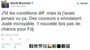 Un tweet du coureur David Boucher