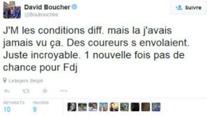 Un tweet du coureur David Boucher