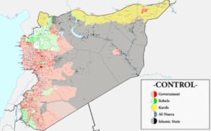 La situation en Syrie, mi-septembre 2015. Image libre de droits.