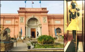 L'entrée du musée du Caire et la statue de Toutankhamon. Photos (c) Rima Ayoub