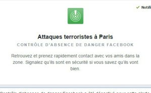 Je suis en sécurité à Paris. Copie écran de l'application Facebook