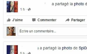 Copie écran des photos de profil temporaires bleu-blanc-rouge