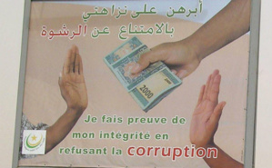 Affiche d'une campagne de prévention contre la corruption en Mauritanie. Photo (c) C. Hug
