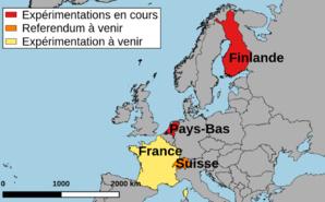 Les initiatives européennes du revenu de base inconditionnel. Image (c) Alice Dutray via naturalearthdata.com