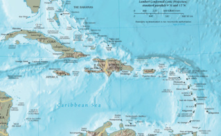 Carte de la Caraïbe par le. Image du domaine public.