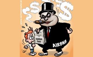 Caricature sur la Airbnb, plateforme communautaire de logements de particuliers. Dessin (c) Peter Welleman