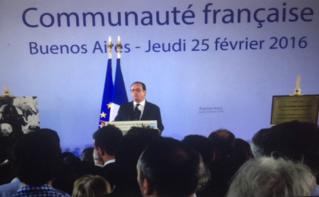 François Hollande s'exprimant face à la communauté française de Buenos Aires. Photo (c) Marie-Rachel Aparis
