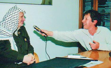 Isabelle Dor lors de son interview exclusive avec Arafat. Archive personnelle (c) Isabelle Dor