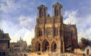 La Cathédrale de Reims peinte par Domenico Quaglio (1787-1837). Image du domaine public. Cliquez ici pour accéder au site