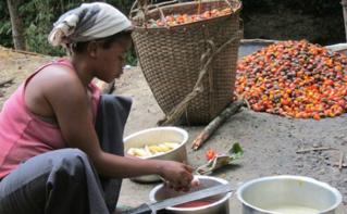 Kahambu, femme déplacée entrain de préparer à manger à ses cinq enfants. Kalembe, Nord-Kivu, RDC. Photo (c) Pierre Buingo