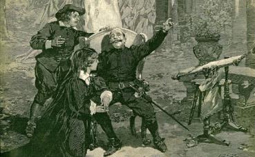 """Avant-dernière scène de """"Cyrano de Bergerac"""" au Théâtre de la Porte Saint-Martin, Paris, décembre 1897. Image du domaine public"""