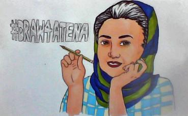 Mobilisation pour Atena Farghadani #draw4atena. Dessin (c) Pweada