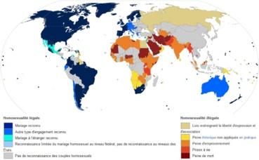 Carte de la tolérance LGBT dans le monde. Illustration (c) Silje